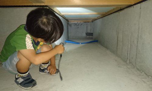 床下に入ってライトを照らす男の子