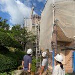 鎌倉「岩瀬の家」外壁試し塗り